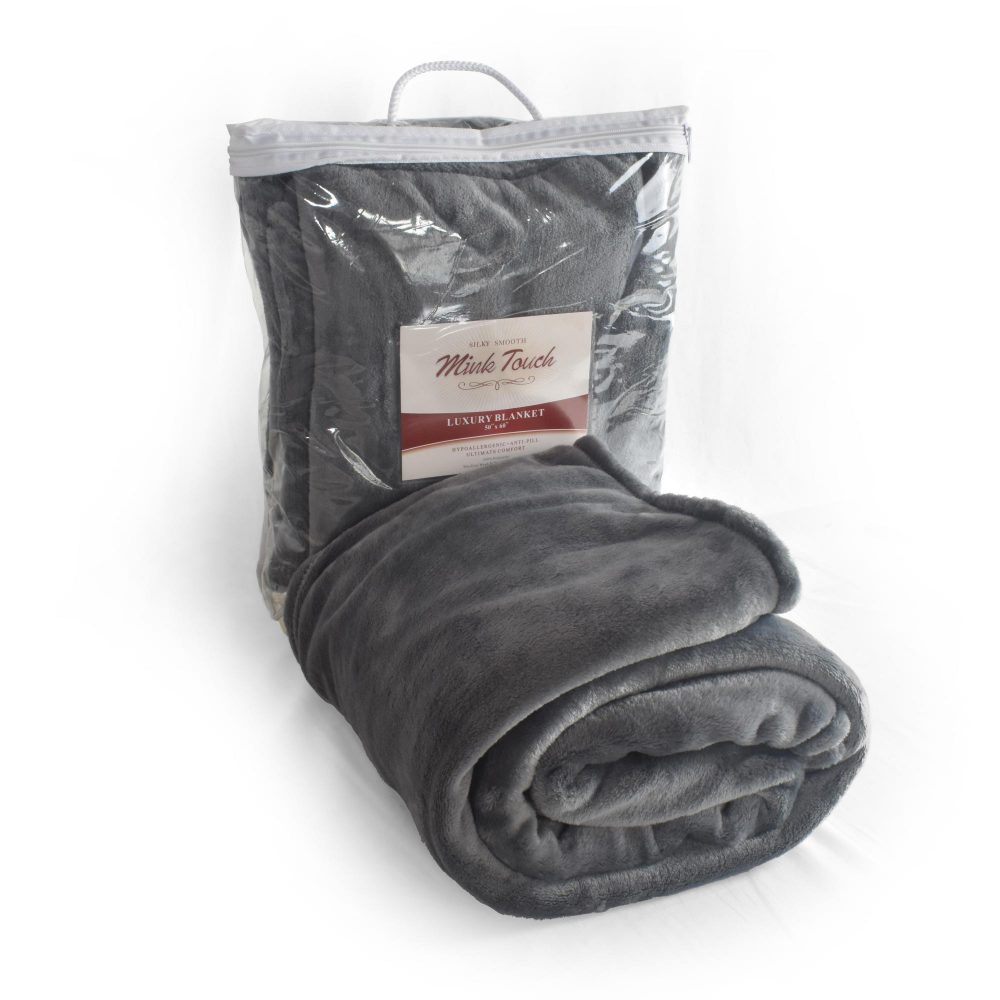 Cinder Mink Touch Throw Blanket with Packaging