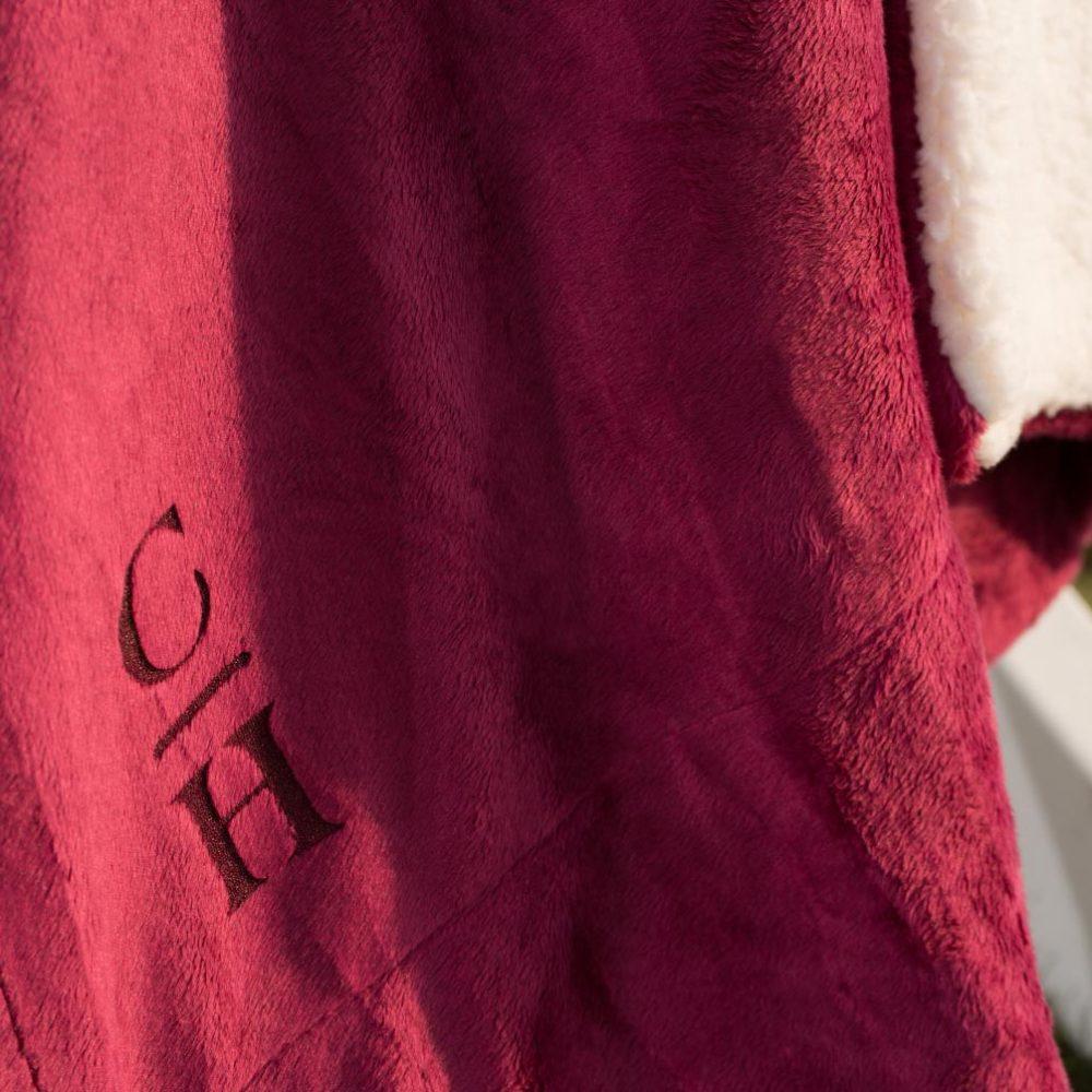 Sherpa Fleece Blanket Laser-Etched: Burgundy