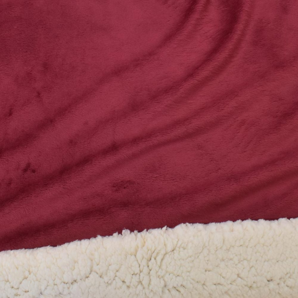 Sherpa Fleece Blanket: Burgundy