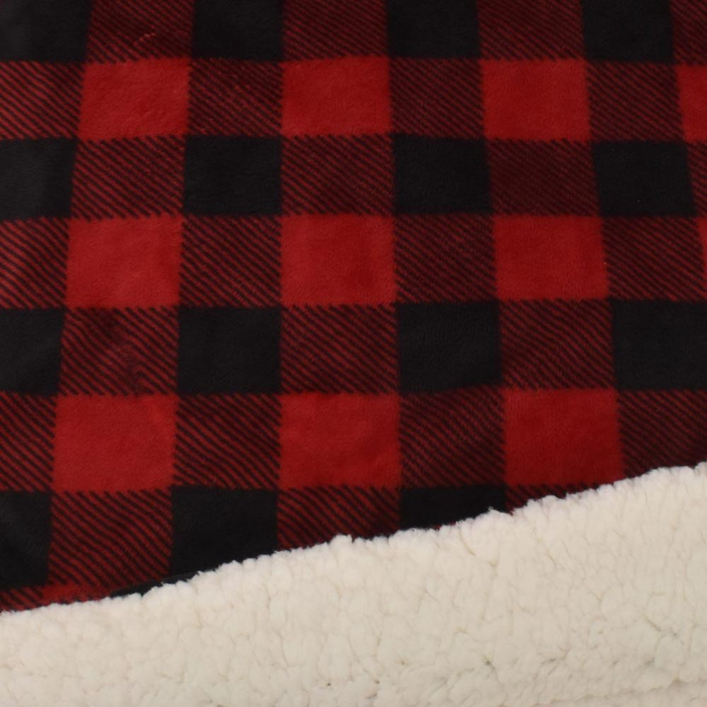 Sherpa Fleece Blanket: Red Buffalo